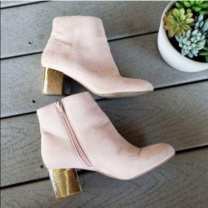 [ ALDO ] Pink Suede Metallic Silver Booties Heels